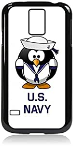 US Navy-Penguin- Case for the Galaxy S5 i9600- Hard Black Plastic Snap On Case with Soft Black lining