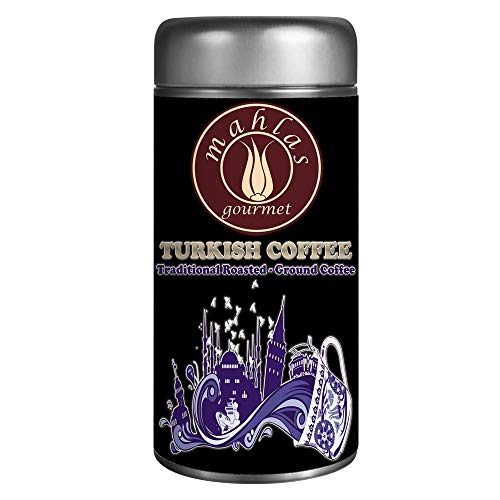 - Mahlas Gourmet Turkish Coffee - Traditional Luxury Ground Roasted - Premium Quality - Is Ground With A Natural Stone Mill - Metal Tin Storage Box - Produced From Fresh Harvest Green Coffee Bean