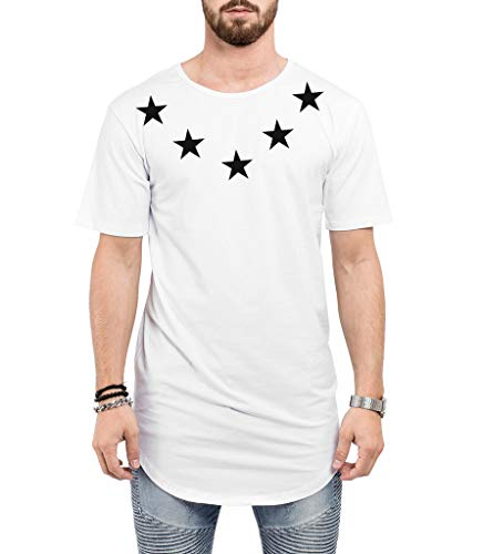 Camiseta Criativa Urbana Long Line Oversized Star Colar Branco M