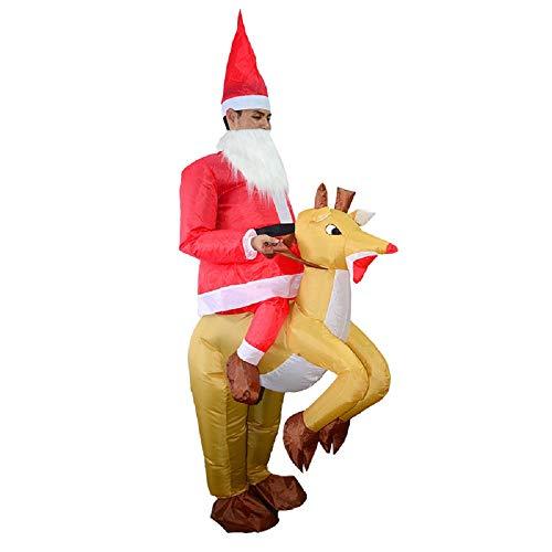 (Christmas Santa Claus Inflatable Costume Xmas Inflatable Elk Costume Fancy Dress Blow up Suit (Santa Elk Costume) (Santa)