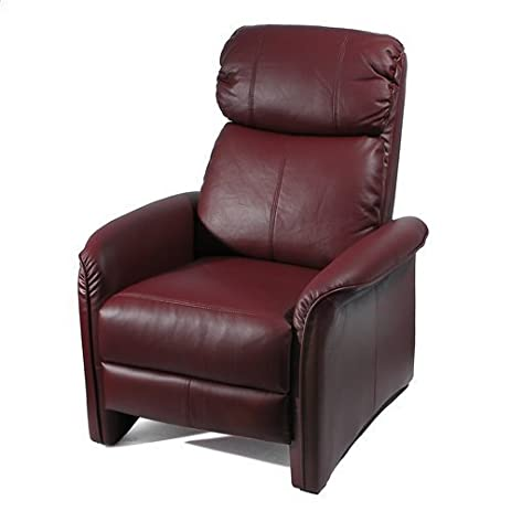 Beau Home Leather Soft Pad Recliner 3 Positional Leather Cozy Recliner Chair  Burgundy