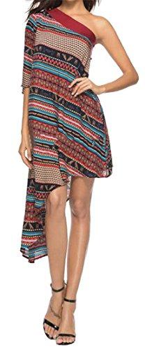 Wine Womens Tang Irregular Big Tribal Sexy Flowy Print Dress One Red Shoulder Club PqxwZ5wd0