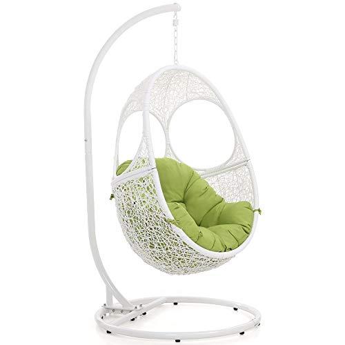 Zuri Furniture Modern Malaga White Basket Swing Chair Lime Green Cushion (Malaga Patios Los)