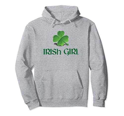 Unisex Irish Girl Lucky Charm Clover St. Patrick's Day Hoodie Medium Heather (Clover Kids Hoodie)