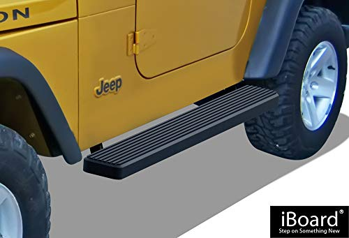 APS iBoard (Black Powder Coated 6 inches) Running Boards | Nerf Bars | Side Steps | Step Rails for 1987-2006 Jeep Wrangler Sport Utility 2-Door