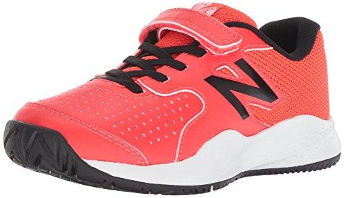 New Balance Boys' 696v3 Hard Court Tennis Shoe, red, 2 M US Little Kid (Tennis Balance Apparel New)
