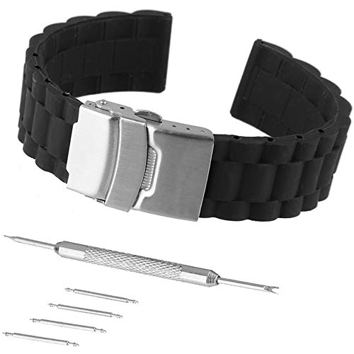 Rubber Strap Watchband Replacement Stainless Steel Fold Over Clasp Sport Divers (22mm) ()