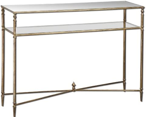 Uttermost Henzler Mirrored Glass Console Table with Antiqued Gold Leaf, Forged Iron
