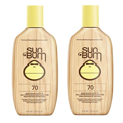 - Sun Bum Original Moisturizing Sunscreen Lotion, Broad Spectrum UVA/UVB Protection, Hypoallergenic, Paraben Free, Gluten Free, 8 oz, 2 Count