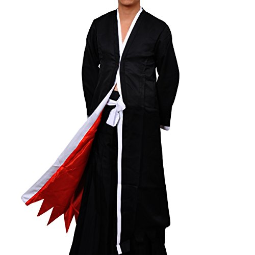 [Quesera Men's Bleach Ichigo Bankai Costume Set Anime Cartton Cosplay Costumes£¬Black£¬Medium] (Seras Cosplay Costume)