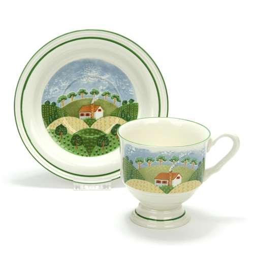 Country Cottage by Sango, Earthenware Cup & Saucer, (Sterling Tea Saucer)