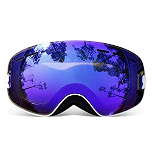 COPOZZ G3 Kids Ski Goggles For Snow Snowboard Snowmobile Skate - For Boy Girl Toddler Child Junior - Anti Fog UV Protection OTG Over Glasses Double Layer Cool Lens