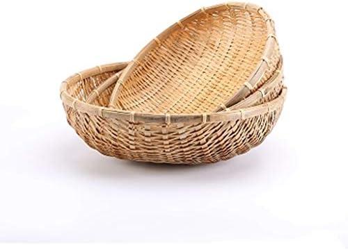 自然の手作りの竹のバスケットのハーブバスケットの果物や野菜の貯蔵トレイの排水バスケットの庭、オプションの乾燥 GHMOZ (Size : 39×12cm)