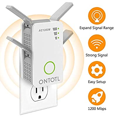 WiFi Range Extender Wireless Repeater,ONTOTL 1200Mbps Internet Extender Dual Band 2.4GHz & 5GHz | Computers
