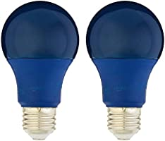 AmazonBasics 60 Watt Equivalent, Non-Dimmable, A19 LED Light Bulb - Blue, 2-Pack