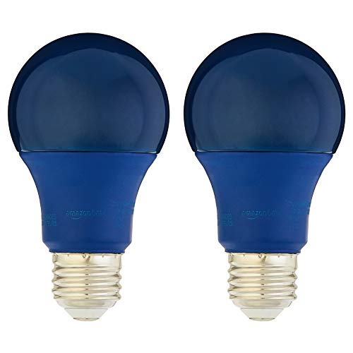 Amazon Basics 60 Watt Equivalent, Non-Dimmable, A19 LED Light Bulb | Blue, 2-Pack