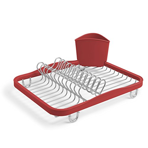 Umbra Sinkin Dish Drying Rack - Dish Drainer Kitchen Sink Caddy with Removable Cutlery Holder, Fits In Sink or on Countertop, Red (Caddy Silverware Red)