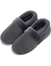 Mens Slippers with Arch Support Memory Foam House Slipper for Men Slip On House Shoes Warm Fur Lined Clogs