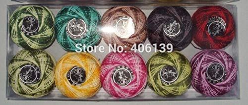 Zamtac 10 Rolls 9s/2 100% Cotton DIY Good Quality Stitch Embroidery Thread Crochet Thread Hand Cross Variegated Colors