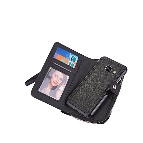 Galaxy A3 2017 Detachable Wallet Case, Vandot Zipper Cash Money Storage Multi-Function 2in1 Magnetic Separable Wallet Case Flip Cover with Credit Card Holder and Removable Phone Back Case Cover para S Zipper-02