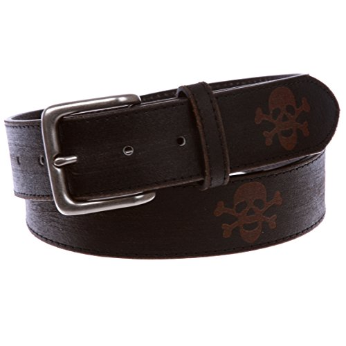 Snap On Vintage Stitching-Edged Distressed Embossed Skull & Cross Bones Leather Belt, Black | 36