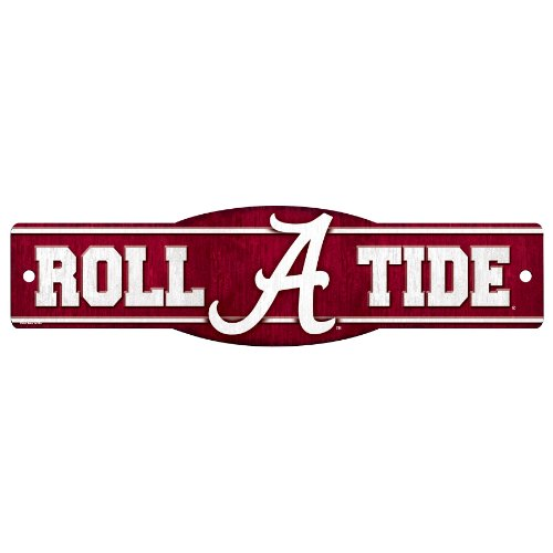 Tide Sign Alabama Crimson - WinCraft NCAA Alabama Crimson Tide Sign, 4.5 x 17-Inch