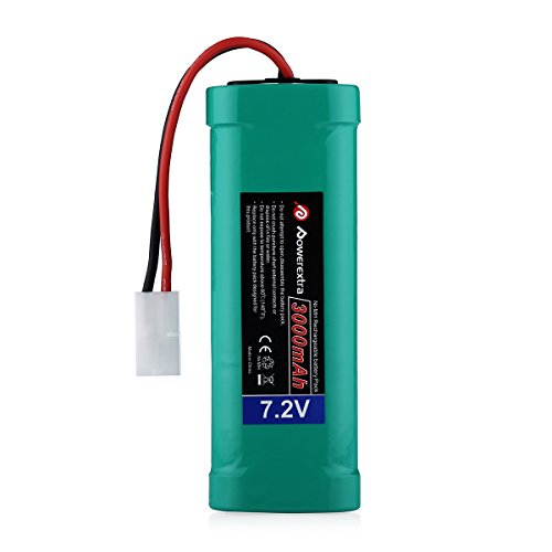 Powerextra 7.2V 3000mAh High Capacity Rechargeable 6-Cell NiMH Battery Pack Low-self Discharge with Ket Connectors Compatiable RC Cars, RC Truck, RC Airplane, RC Helicopter, RC Boat (Main 6 Cell Battery)