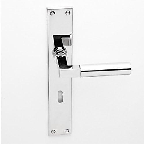 Puerta Interior Puerta con placa larga (Acero Bauhaus en diseño después de Gropius niquelado pulido BB Haeusler-Shop Puerta picaporte picaporte para puerta (asas: Amazon.es: Bricolaje y herramientas
