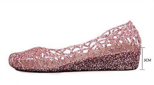 Bianco Rosa Sandali Comode Estive Ballerine Giallo Scuro Punta Basse Donna Jelly Chiusa Oro 40 con 35 Eleganti Rosa Zeppa Morbido Nero Scarpa Traspirante Z4vwx8n