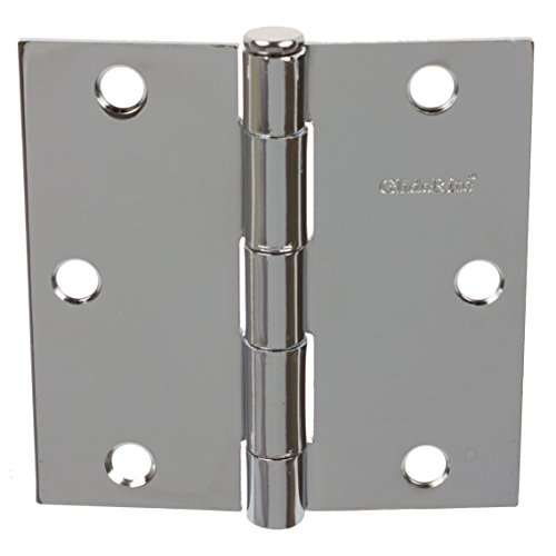 GlideRite Hardware 3500-PC-12 3.5 inch steel Door Hinges Square Corners Polished Chrome Finish 12 Pack (Chrome Hinges Door)
