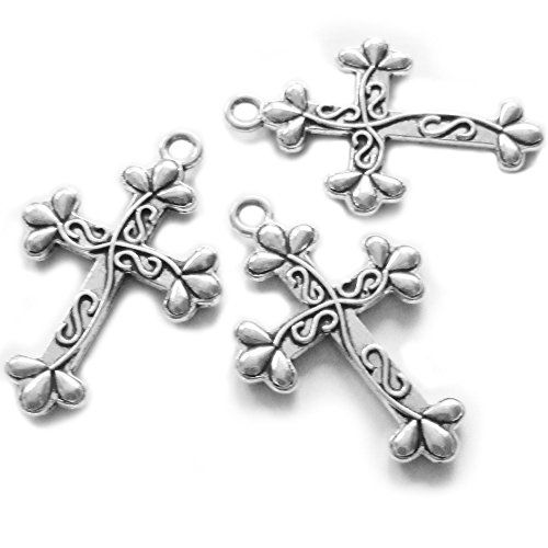 Findings Charms Cross - Heather's cf 24 Pieces Silver Tone Petal Cross Pendant Beads DIY Religious Cross Charm Bead Findings 35X23mm