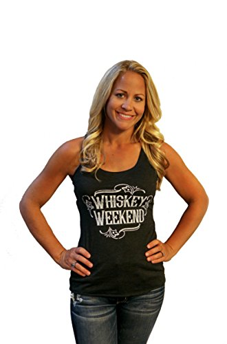 Tough Little Lady Womens Graphic tee Whiskey Weekend Shirt Blk Tank MD -
