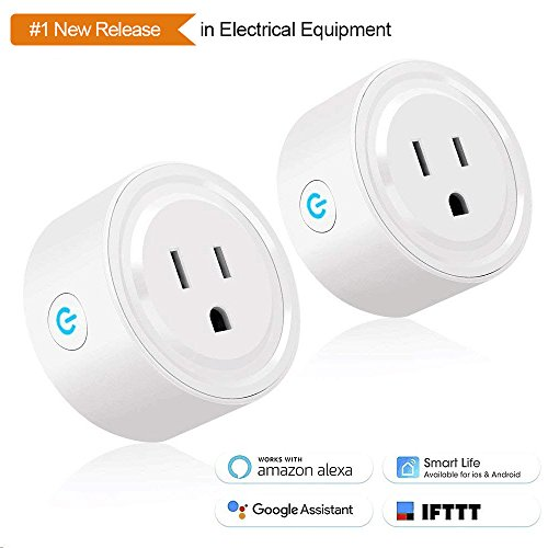 Tonbux Smart Plug 2 Pack WiFi Enabled Mini Smart Switch Compatible with Amazon Alexa & Google Home, No Hub Required, Remote Control Your Devices from Anywhere, ETL Listed [Upgraded Version]