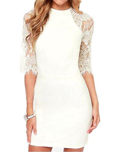 mantos eternity womenu0027s half sleeves sheer back slim lace clubwear cocktail dress white 4