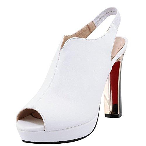 Elegant Slingback Heels Toe Blockabsatz Schnalle High Weiß Schuhe mit Pumps YE Peep Damen Plateau UPSnwq