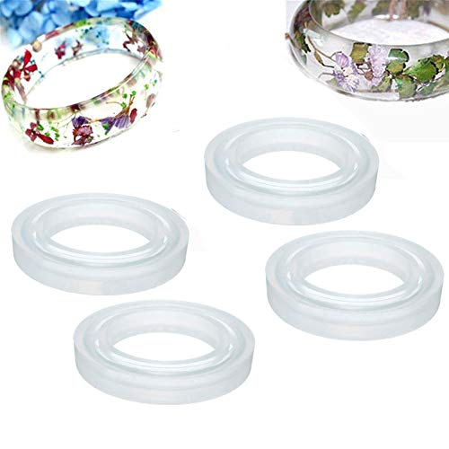 4 Size Silicone Bangle Mold Clear Round Bracelet Jewelry Casting Resin Mould (Normal)