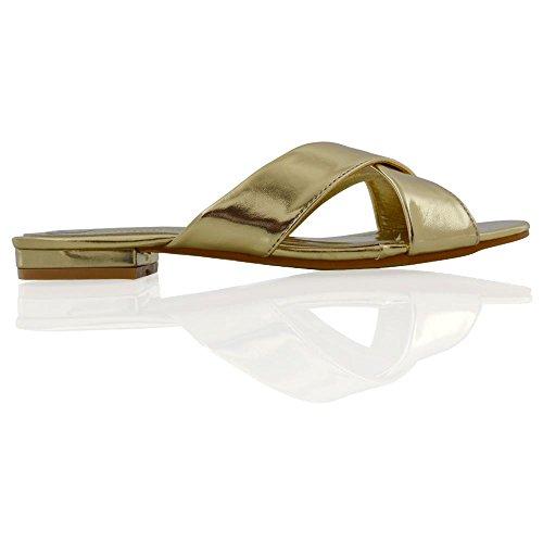 ESSEX GLAM Mujer Cruzar Ponerse Sintético Deslizador Sandalia Zapatos Oro Metálico