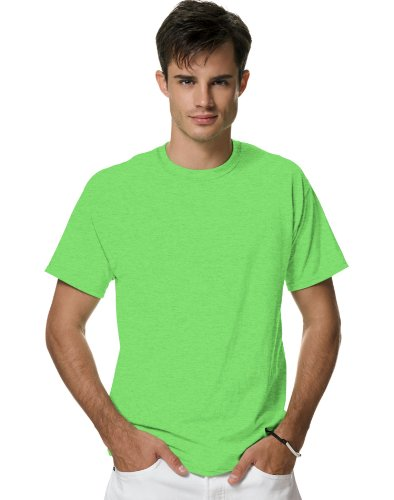 Hanes Men's X-Temp Crewneck Short-Sleeve T-Shirt (X-Large), Neon Lime Heather