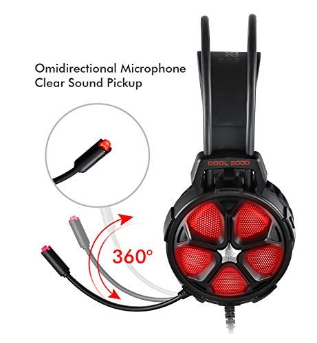 Comfortable Stereo Gaming Headset for PS4, PC, EasySMX Cool 2000 Over Ear Stereo Gaming Headphone with Mic, LED Light, for Computer Laptop Nintendo Switch Xbox with 3.5mm Audio Jack