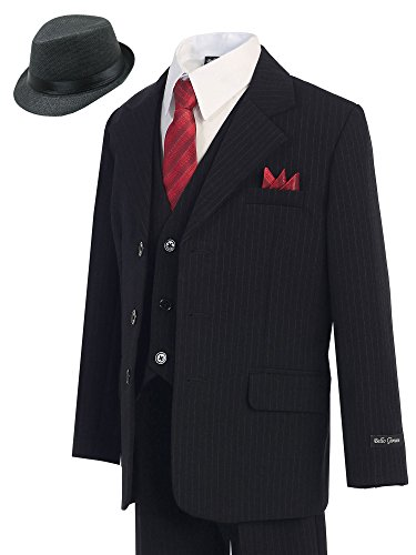 Bello Giovane Boys Pinstripe 5-piece Suit (Free Fedora) (10, Black)