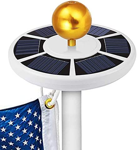 GOGODUCKS Solar Flag Pole 26 LED Light IP65 Weatherproof Downlight Lights up Flag on Most 15 to 25 Ft Flagpole with Auto On Off Night Lighting White