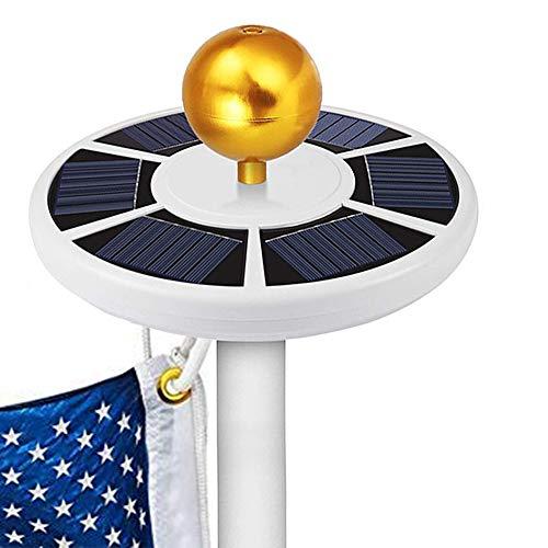 GOGODUCKS Solar Flag Pole 26 LED Light IP65 Weatherproof Downlight Lights up Flag on Most 15 to 25 Ft Flagpole with Auto On/Off Night Lighting (White) ()