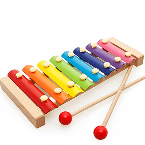 Afunti Wooden Xylophone Baby Musical Toy Instrument Piano with 8 Colored Metal Key with 2 Child-Safe Mallets for Kids Toddlers (Wooden Xylophone Musical Toy)