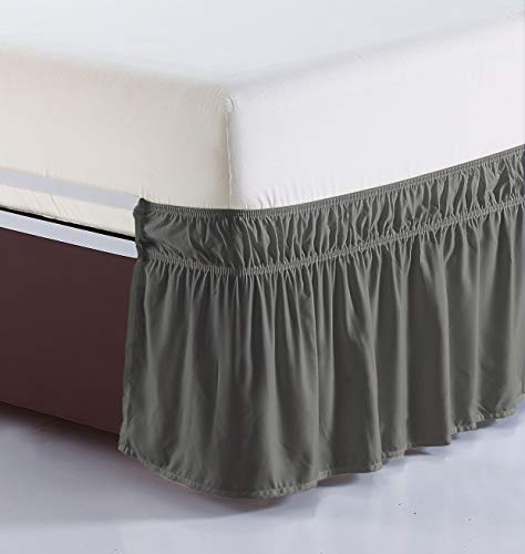 - Orient Home Collection De Moocci Luxury Wrap Around Style, Elastic Bed Wrap Ruffled Bed Skirt 16inch Drop, Platform Free, 2 Sizes, 100% Polyester (Grey Queen/King)