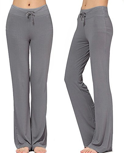 Women's Long Modal Comfy Drawstring Trousers Loose Straight-Leg for Yoga