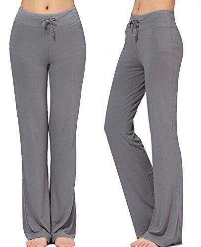 Women's Long Modal Comfy Drawstring Trousers Loose Straight-Leg for Yoga Running Sporting (M, Dark Grey)