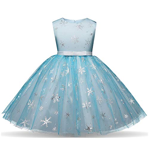 NNJXD Girl Sequin Princess Dress Tutu Tulle Birthday Wedding Formal Party Dresses Size (150) 7-8 Years Blue by NNJXD