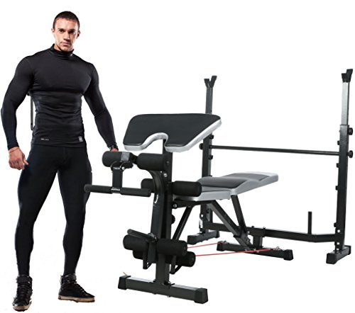 Jaketen Professional Olympic Weight Bench - Adjustable Multi-Functional Workout AB Bench Set with Preacher Curl, Leg Developer for Indoor/Home Exercise Fitness