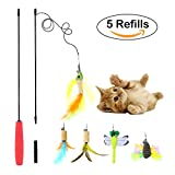 B Bascolor Cat Toys Interactive Feather Teaser Wand Toy Set with 5 Refills Feathers Bird Dragonfly Catcher for Cats Kitten