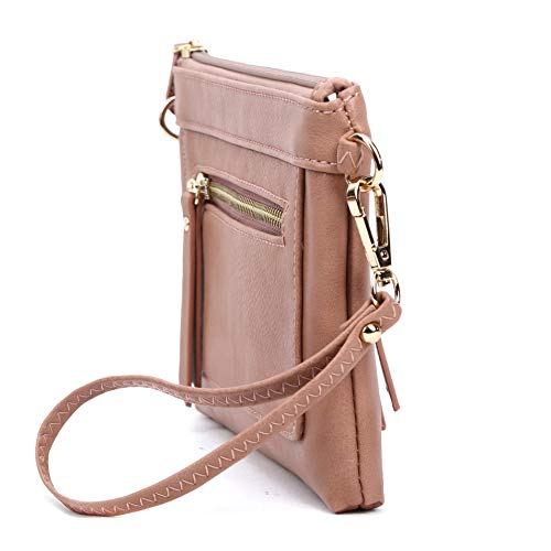 Multi Pink Bag Women's Solene Shoulder Compartment amp; Wristlet Crossbody Dust Leather Faux Lightweight Efdwqxd7